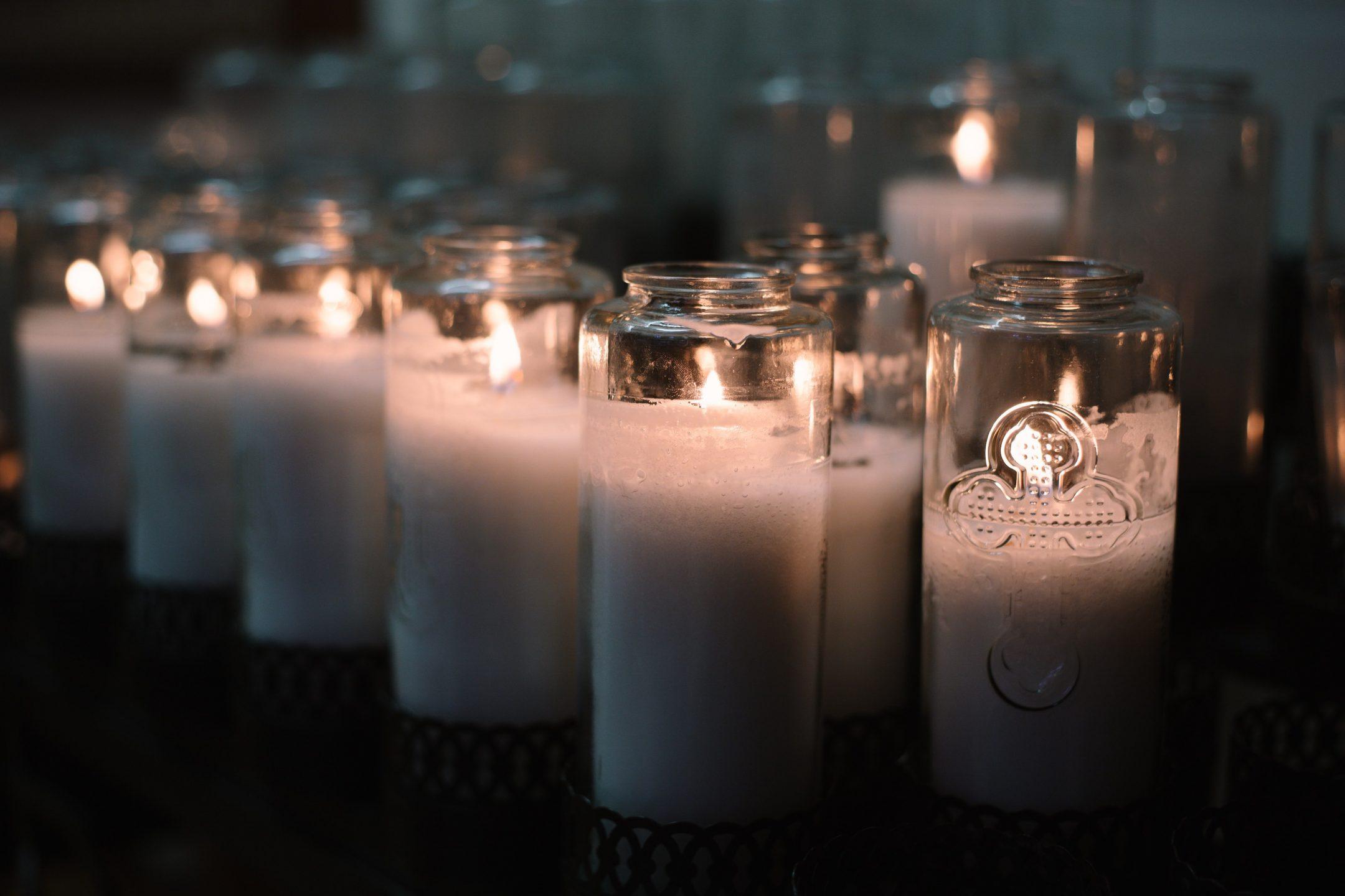 Lit prayer candles